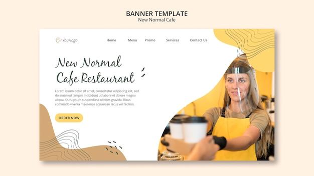 Nieuw normaal café-bannermalplaatje