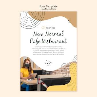 Nieuw normaal café-flyer-sjabloon