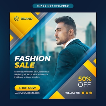 Nieuw seizoen fashion sale social media post en social media banner of webbanner sjabloon