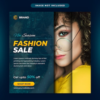 Nieuw seizoen mode verkoop instagram banner of social media postsjabloon