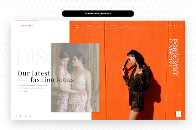 Nieuw seizoen websiteontwerp met heldenafbeelding