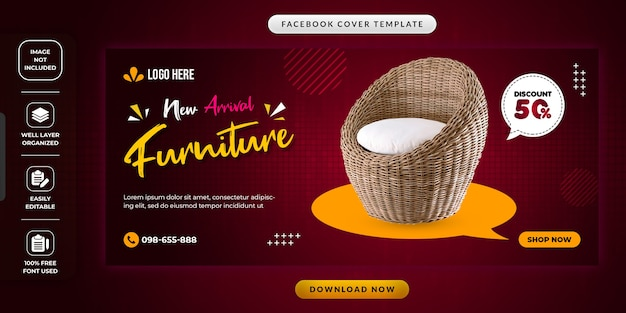 Nieuwe aankomst meubels verkoop sociale media promotionele sjabloon