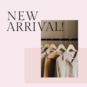 Nieuwe aankomstpostsjabloon psd voor mode en winkelen
