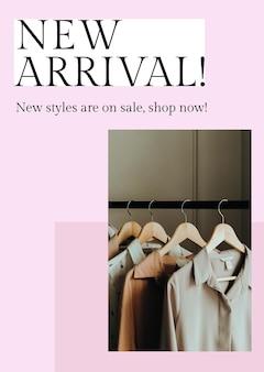 Nieuwe aankomstsjabloon psd voor mode en winkelen