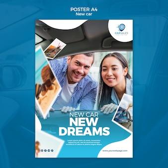 Nieuwe auto concept poster sjabloon
