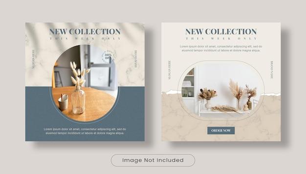 Nieuwe collectie interieurontwerp instagram post bannersjabloon set