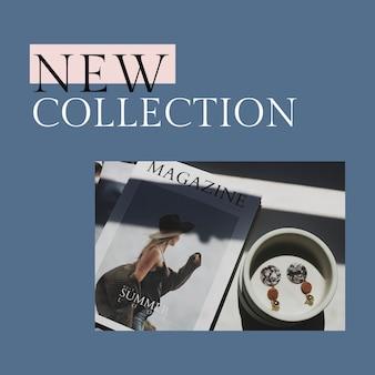 Nieuwe collectie postsjabloon psd voor mode en winkelen