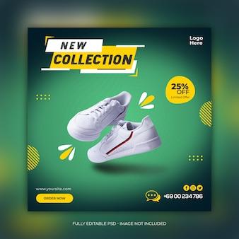 Nieuwe collectie schoenen social media-sjabloon voor spandoek