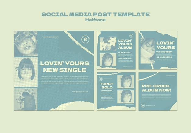 Nieuwe enkele posts op sociale media in halftoonstijl