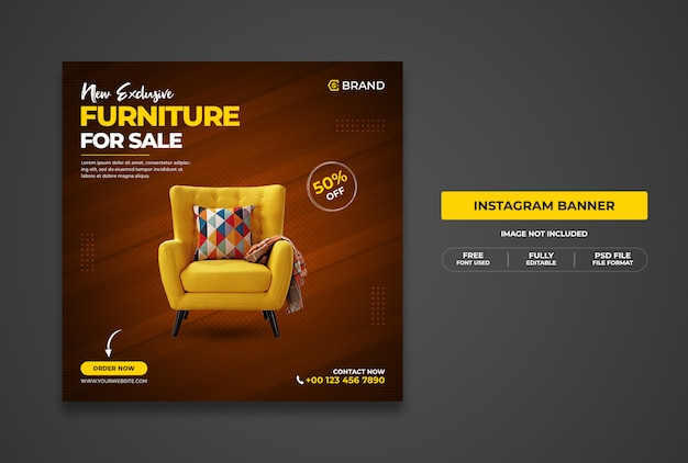 Nieuwe exclusieve meubelverkoop promotionele webbanner of sjabloon voor spandoek voor sociale media