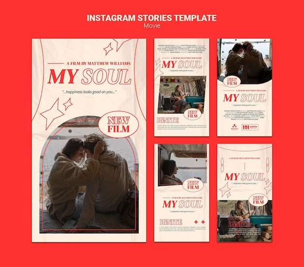 Nieuwe film instagram verhalen sjabloon Premium Psd