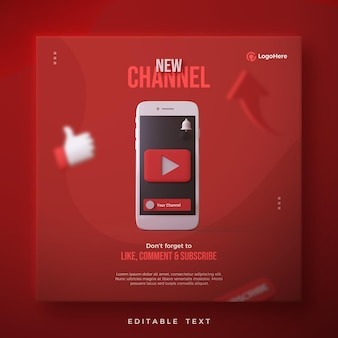 Nieuwe kanaalpost met youtube-logo 3d render