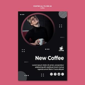 Nieuwe koffie concept posterontwerp