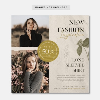 Nieuwe mode-inspiratie sociale media instagram-sjabloon