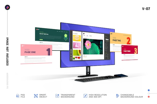 Nieuwe moderne 3d web showcase desktop computerscherm mockup