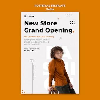 Nieuwe modewinkel poster sjabloon