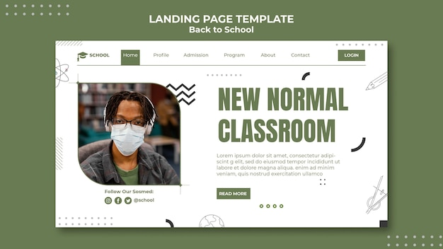 Nieuwe normale bestemmingspagina voor klaslokalen