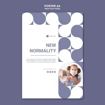 Nieuwe normaliteit postersjabloon met foto