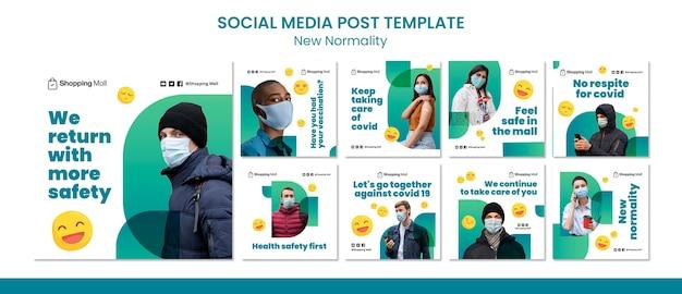 Nieuwe normaliteit social media post ontwerpsjabloon