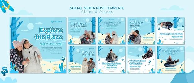 Nieuwe plaatsen verkennen social media posts