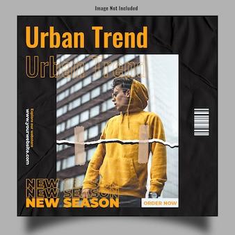 Nieuwe seizoens stedelijke trend instagram post