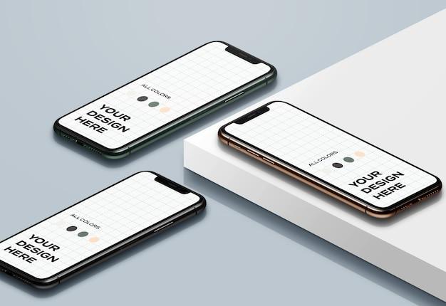 Nieuwe smartphones mockup naar boven gericht