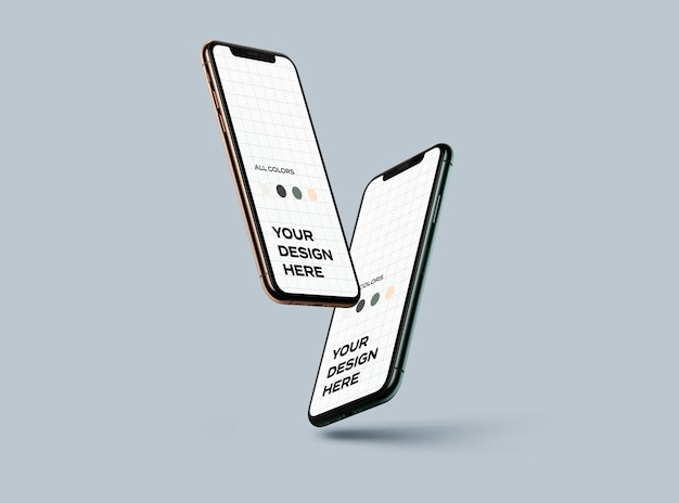 Nieuwe smartphones mockup zwevend
