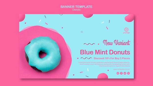 Nieuwe soorten donuts-sjabloon voor spandoek