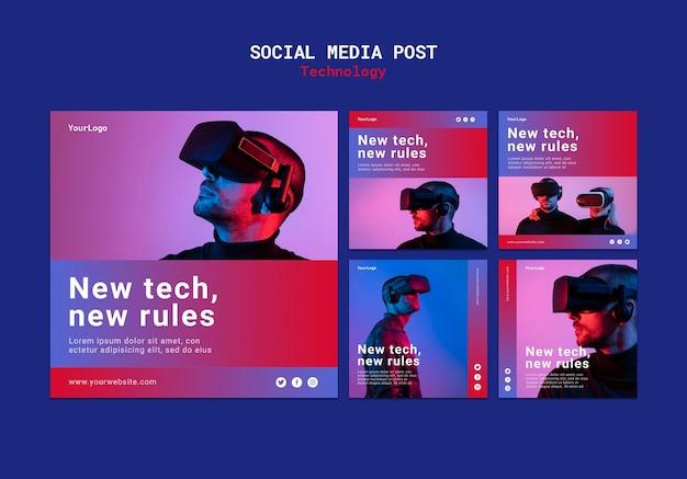 Nieuwe technologie sociale media sjabloonontwerp