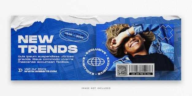 Nieuwe trends mode facebook-omslag en webbanner psd-sjabloon