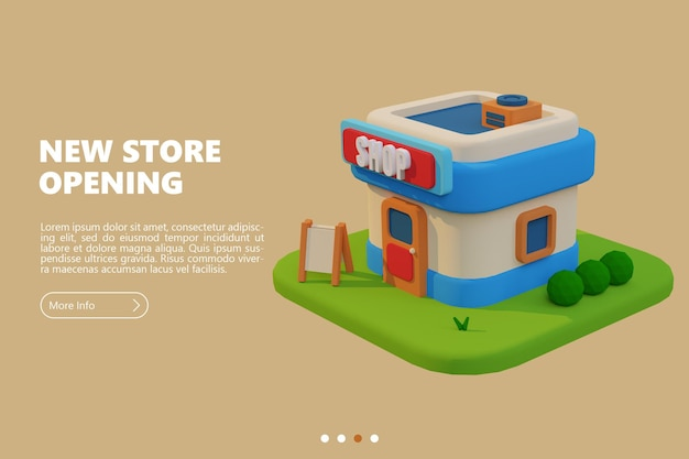 Nieuwe winkelopeningsbanner met weergave van cartoonwinkel