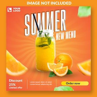Nieuwe zomer menu social media postsjabloon