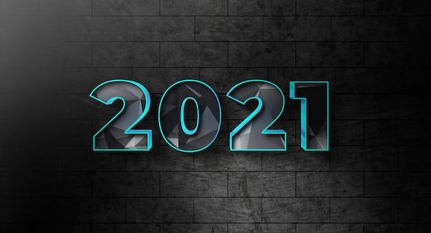 Nieuwjaar 2021 tekststijl effect sjabloon