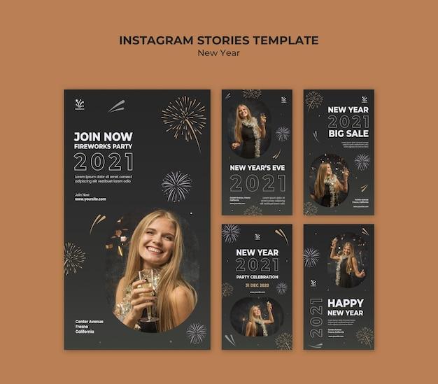 Nieuwjaar concept instagram verhalen sjabloon