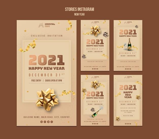 Nieuwjaar concept instagram verhalen sjabloon Premium Psd