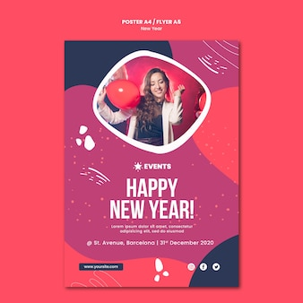Nieuwjaar concept poster sjabloon