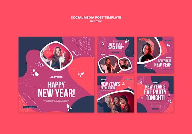 Nieuwjaar concept sociale media post sjabloon