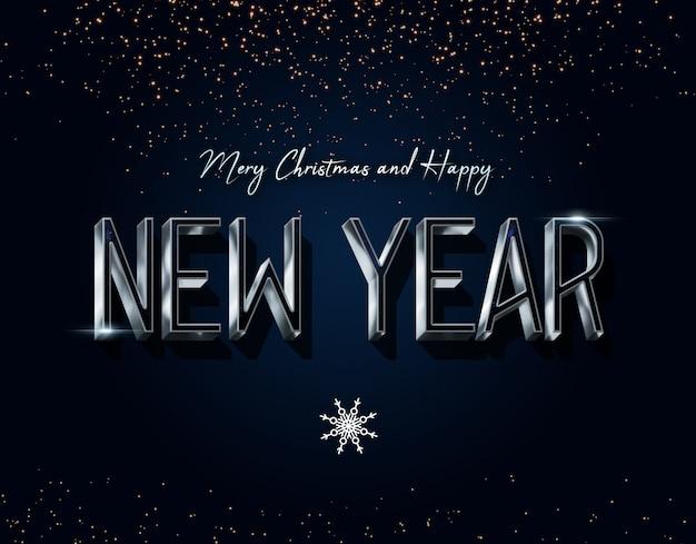Nieuwjaar en kerst teksteffecten psd-sjabloon