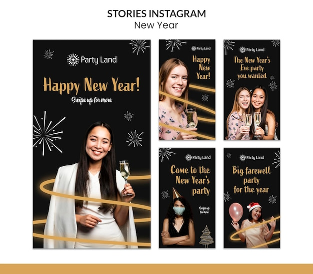 Nieuwjaar instagram verhalen sjabloonontwerp Premium Psd