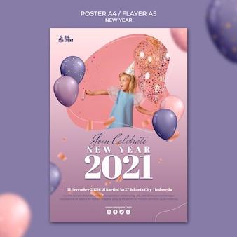Nieuwjaar poster sjabloon