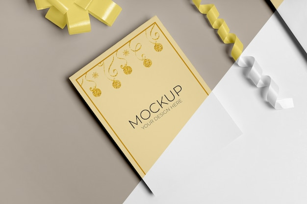 Nieuwjaar uitnodiging mock-up met lint hoge weergave