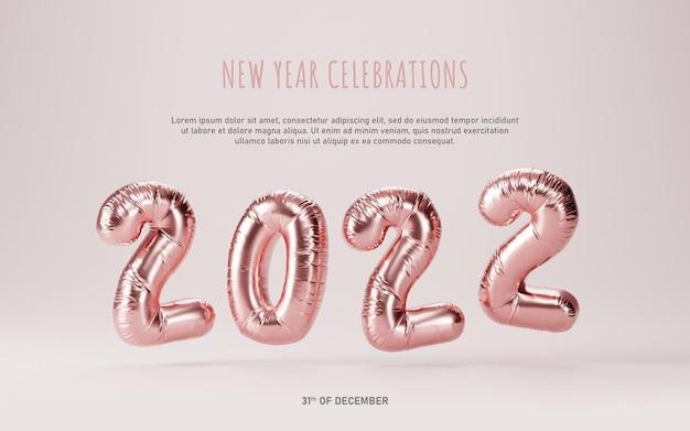 Nieuwjaar vieringen 2022 metallic roze folie ballonnen sjabloon achtergrond