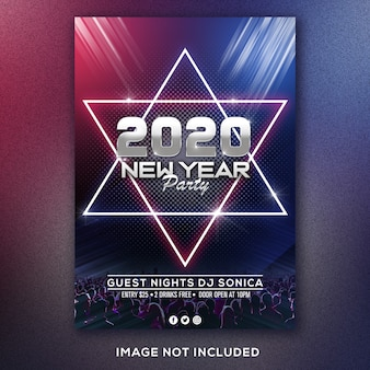 Nieuwjaarsfeest flyer of poster sjabloon
