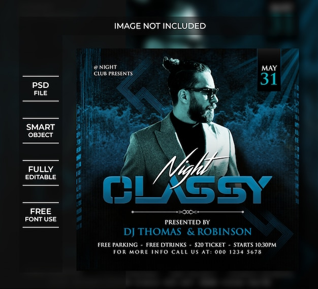Night classy party flyer social media post