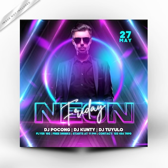 Night friday party flyer premium