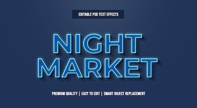 Night market text effect premium psd