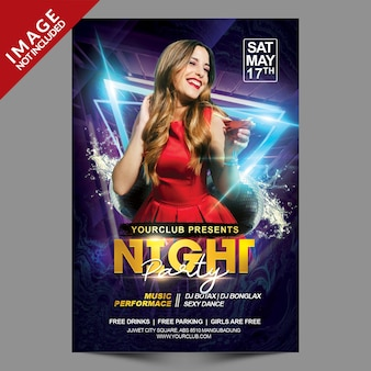 Night party psd premium flyer-sjabloon