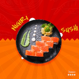 Nigiri sushi receta con pescado crudo para restaurante de comida japonesa, oriental o asiática. sushibar