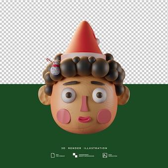 Niño lindo de la navidad del estilo de la arcilla con la ilustración 3d de la muñeca del muñeco de nieve