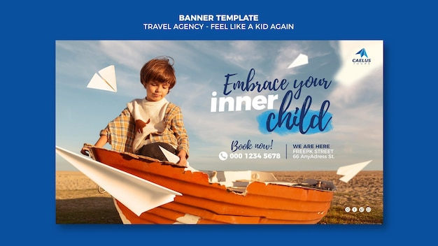 Niño de plantilla de banner de agencia de viajes con barco